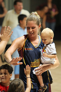 Marta Dydek (and nephew?) thank her young fans - WNBL: Logan Thunder v Bendigo Spirit 12 February, 2010. The Bendigo Spirit were down most of the the game, but ended up with the win, 86-82.