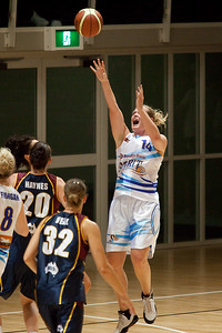 Canadian player Chelsea Aubry shhots - WNBL: Logan Thunder v Bendigo Spirit 12 February, 2010. The Bendigo Spirit were down most of the the game, but ended up with the win, 86-82.