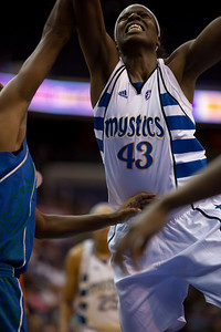 "Washington Mystics 6' 4"" Nakia Sanford in action against the Minnesota Lynx in a WNBA match at the Verizon Center in Washington DC on August 13, 2010. The Washington Mystics defeated the Minnesota Lynx 61-58. (Photo by Jeff Malet)"