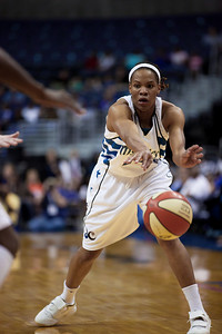 Washington Mystics forward Monique Currie in action against the Minnesota Lynx in a WNBA match at the Verizon Center in Washington DC on August 13, 2010. The Washington Mystics defeated the Minnesota Lynx 61-58. Currie scored 4 points in the game. (Photo by Jeff Malet)