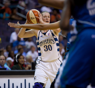 Washington Mystics Katie Smith in action against the Minnesota Lynx in a WNBA match at the Verizon Center in Washington DC on August 13, 2010. The Washington Mystics defeated the Minnesota Lynx 61-58. Smith scored 11 points in the game. (Photo by Jeff Malet)