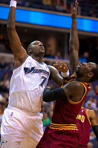 Andray Blatche of the Washington Wizards shoots over J.J. Hickson of the Cleveland Cavaliers.