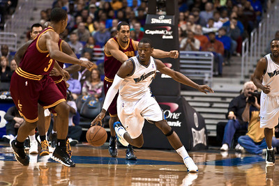 John Wall of the Washington Wizards starts a fast break against the Cleveland Cavaliers.