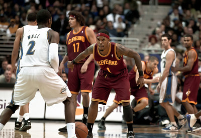 Daniel Gibson of the Cleveland Cavaliers guards John Wall of the Washington Wizards.