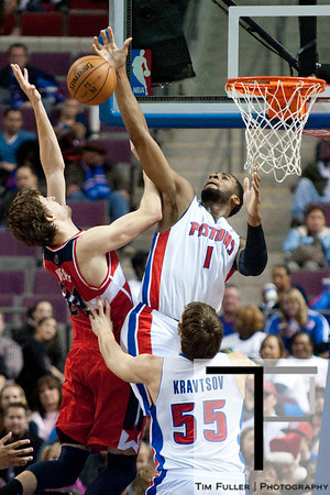 Dec 21, 2012; Auburn Hills, MI, USA; Detroit Pistons center Andre Drummond (1) blocks Washington Wizards small forward Jan Vesely (24) during the fourth quarter at The Palace. Pistons won 100-68. Mandatory Credit: Tim Fuller-USA TODAY Sports