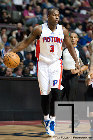 Dec 21, 2012; Auburn Hills, MI, USA; Detroit Pistons point guard Rodney Stuckey (3) during the fourth quarter against the Washington Wizards at The Palace. Pistons won 100-68. Mandatory Credit: Tim Fuller-USA TODAY Sports