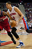 Dec 21, 2012; Auburn Hills, MI, USA; Detroit Pistons power forward Austin Daye (5) drives to the basket against Washington Wizards during the fourth quarter at The Palace. Pistons won 100-68. Mandatory Credit: Tim Fuller-USA TODAY Sports
