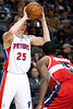 Dec 21, 2012; Auburn Hills, MI, USA; Detroit Pistons small forward Kyle Singler (25) during the fourth quarter against the Washington Wizards at The Palace. Pistons won 100-68. Mandatory Credit: Tim Fuller-USA TODAY Sports