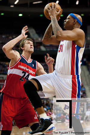 Dec 21, 2012; Auburn Hills, MI, USA; Detroit Pistons power forward Charlie Villanueva (31) goes to the basket against Washington Wizards small forward Jan Vesely (24) during the fourth quarter at The Palace. Pistons won 100-68. Mandatory Credit: Tim Fuller-USA TODAY Sports