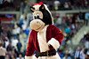Dec 21, 2012; Auburn Hills, MI, USA; Detroit Pistons mascot Hooper wears a Santa Claus costume during the second quarter against the Washington Wizards at The Palace. Mandatory Credit: Tim Fuller-USA TODAY Sports