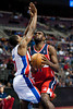 Dec 21, 2012; Auburn Hills, MI, USA; Washington Wizards small forward Chris Singleton (31) goes to the basket against Detroit Pistons point guard Brandon Knight (7) during the second quarter at The Palace. Mandatory Credit: Tim Fuller-USA TODAY Sports