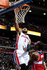 Dec 21, 2012; Auburn Hills, MI, USA; Detroit Pistons center Andre Drummond (1) slam dunks during the fourth quarter against the Washington Wizards  at The Palace. Pistons won 100-68. Mandatory Credit: Tim Fuller-USA TODAY Sports