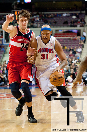 Dec 21, 2012; Auburn Hills, MI, USA; Detroit Pistons power forward Charlie Villanueva (31) drives to the basket against Washington Wizards small forward Jan Vesely (24) during the fourth quarter at The Palace. Pistons won 100-68. Mandatory Credit: Tim Fuller-USA TODAY Sports