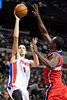 Dec 21, 2012; Auburn Hills, MI, USA; Detroit Pistons power forward Austin Daye (5) goes to the basket against the Washington Wizards during the fourth quarter at The Palace. Pistons won 100-68. Mandatory Credit: Tim Fuller-USA TODAY Sports