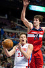 Dec 21, 2012; Auburn Hills, MI, USA; Washington Wizards small forward Jan Vesely (24) guards Detroit Pistons power forward Jonas Jerebko (33) during the fourth quarter at The Palace. Pistons won 100-68. Mandatory Credit: Tim Fuller-USA TODAY Sports