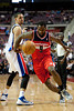 Dec 21, 2012; Auburn Hills, MI, USA; Washington Wizards small forward Martell Webster (9) looses the ball while being guarded by Detroit Pistons power forward Austin Daye (5) during the second quarter at The Palace. Mandatory Credit: Tim Fuller-USA TODAY Sports