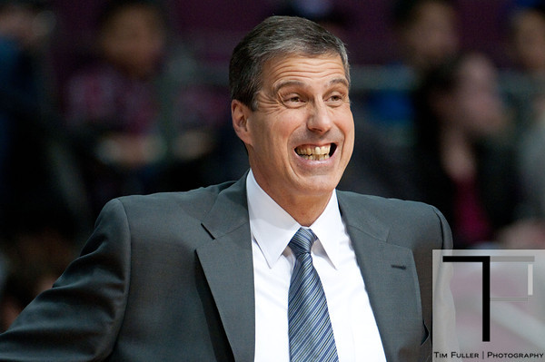 Feb 13, 2013; Auburn Hills, MI, USA; Washington Wizards head coach Randy Wittman reacts during the first quarter against the Detroit Pistons at The Palace. Mandatory Credit: Tim Fuller-USA TODAY Sports