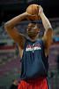 Feb 13, 2013; Auburn Hills, MI, USA; Washington Wizards power forward Kevin Seraphin (13) warms up before the game against the Detroit Pistons at The Palace. Mandatory Credit: Tim Fuller-USA TODAY Sports