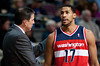 Feb 13, 2013; Auburn Hills, MI, USA; Washington Wizards head coach Randy Wittman talks with shooting guard Garrett Temple (17) during the first quarter against the Detroit Pistons at The Palace. Mandatory Credit: Tim Fuller-USA TODAY Sports