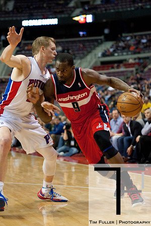 Feb 13, 2013; Auburn Hills, MI, USA; Washington Wizards small forward Martell Webster (9) drives to the basket against Detroit Pistons shooting guard Kyle Singler (25) during the first quarter at The Palace. Mandatory Credit: Tim Fuller-USA TODAY Sports