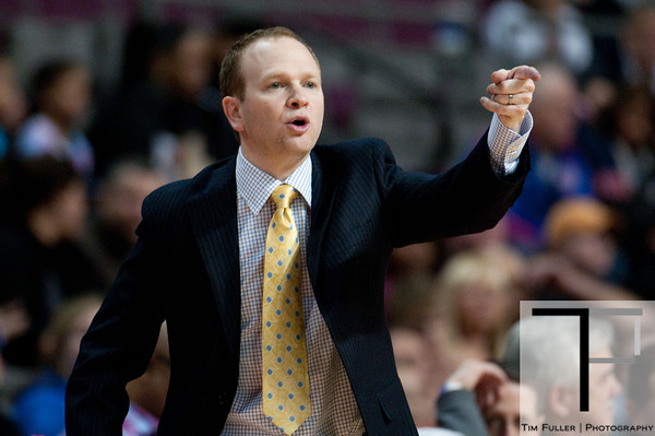 Feb 13, 2013; Auburn Hills, MI, USA; Detroit Pistons head coach Lawrence Frank during the fourth quarter against the Washington Wizards at The Palace. Detroit won 96-85. Mandatory Credit: Tim Fuller-USA TODAY Sports
