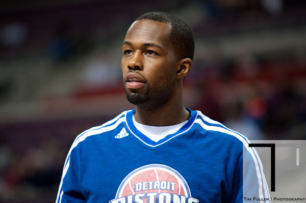Feb 13, 2013; Auburn Hills, MI, USA; Detroit Pistons point guard Rodney Stuckey (3) before the game against the Washington Wizards at The Palace. Mandatory Credit: Tim Fuller-USA TODAY Sports