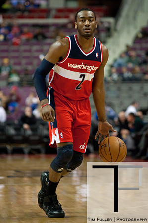 Feb 13, 2013; Auburn Hills, MI, USA; Washington Wizards point guard John Wall (2) during the first quarter against the Detroit Pistons at The Palace. Mandatory Credit: Tim Fuller-USA TODAY Sports