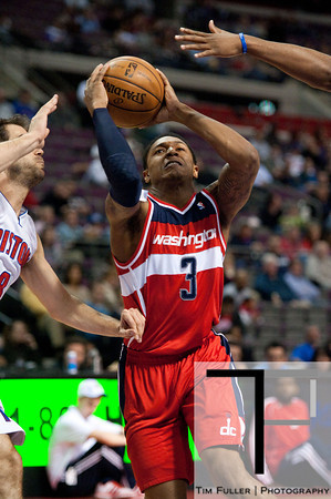 Feb 13, 2013; Auburn Hills, MI, USA; Washington Wizards shooting guard Bradley Beal (3) drives to the basket during the first quarter against the Detroit Pistons at The Palace. Mandatory Credit: Tim Fuller-USA TODAY Sports