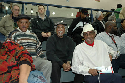 Linwood, Gil and Shaw enjoy a game at the new East high gym open ,2005.