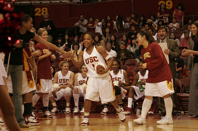 USC Women of Troy basketball vs. Washington State University 2.11.06 in the Sports Arena. USC won 75-67. The tradition of honoring the team's senior players continued this year with a salute to senior guard Meghan Gnekow. This is the last game played in the Sports Arena before the opening of the Galen Center for the 2006-07 school year.
