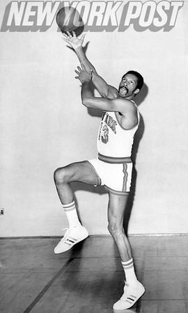 New York Knicks Harthorne Wingo strikes a pose. 1975