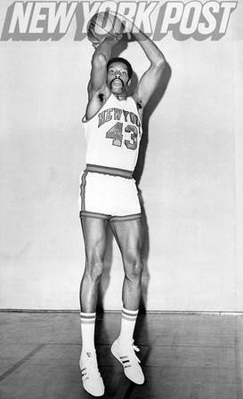 New York Knicks Harthorne Wingo strikes pose. 1975