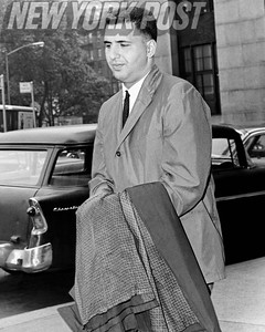 Jerry Vogel leaving the D. A's office to be booked at Elizabeth St. Station. 1961