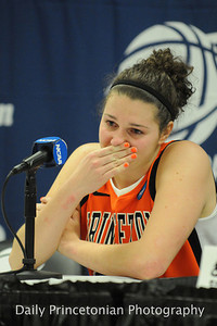 Addie Micir holds back tears during the press conference following a first-round defeat in the 2011 NCAA tournament. (Taken for the Daily Princetonian.  http://photo.dailyprincetonian.com/Sports/WBB/WBB-vs-Georgetown/16272349_q3fzBB#!i=1222559219&k=BB6bcm4)