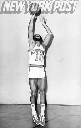 "Walter ""Clyde"" Frazier New York Knicks taking shot. 1975"