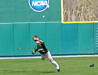 A flying leap for a fly ball by Baylor's center fielder.