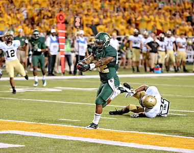 Shock Linwood crosses the goal line for his first career touchdown for Baylor.