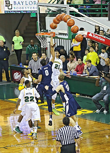Isaiah Austin's blocked shot and sequence of the ball track as it was diverted from the basket.