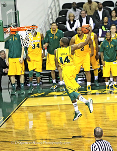 Deuce Bello's windmill dunk shot against HSU.