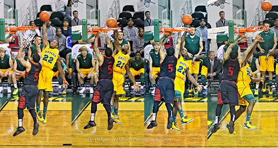 Here are 4 shots side by side showing  the sequence of A. J.'s dunk shot and how the goal tending occurred.