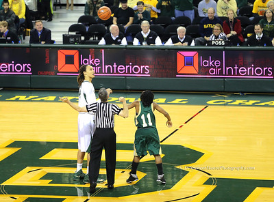 "Baylor played Southeastern Louisiana and the coach decided to put her shortest player, 5'3"" #11, in for the jump ball. Everyone including Brittney was smiling about it and they continued on with play. It's nice when opponents realize the reality of the circumstances and just go along with things in a nice and pleasant way. Good sportsmanship is what you call it. Everyone played hard and took something away for the experience that was of a positive nature."