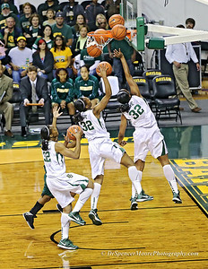 Brooklyn Pope making a successful lay-up against Southeastern Louisiana.