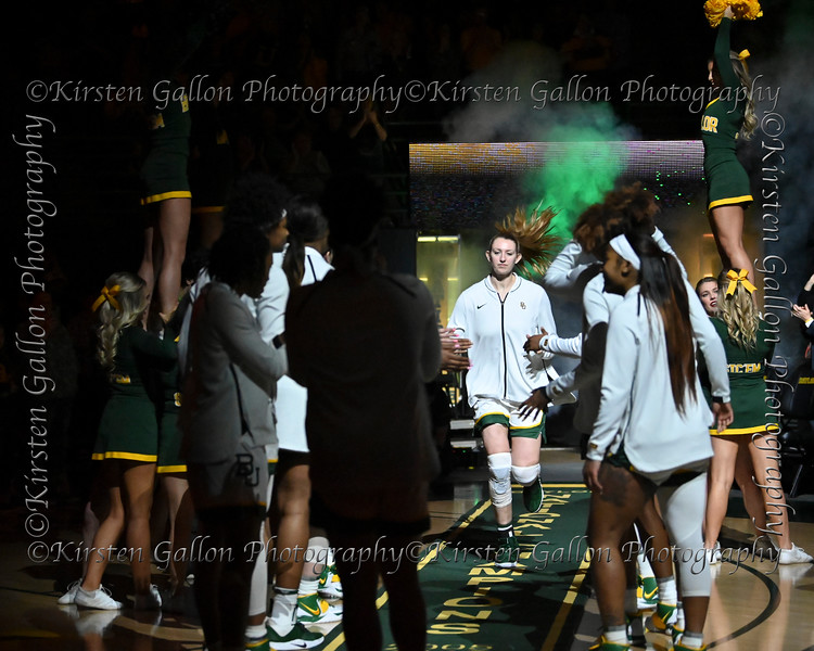 Senior Baylor Center Lauren Cox runs out to join her teammates as her name is announced.