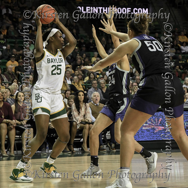 Baylor Center Queen Egbo looks to be pinned in by the double team of K State Center Ayoka Lee and Forward Emilee Ebert.