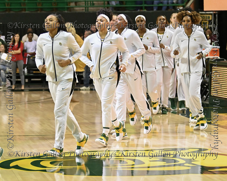 The Baylor Lady Bears come on to the court for the pregame shoot around.