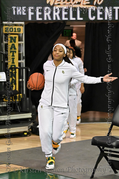 Te'a Cooper leads the Baylor Lady Bears out for pregame warm-ups.
