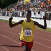 Record-Eagle/ Keith King<br /> Hillary Cheruiyot, of Minneapolis, MN, runs toward the finish line to win first in the mens division of the Traverse City State Bank Bayshore Marathon Saturday, May 29, 2010.