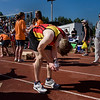 Record-Eagle/ Keith King<br /> Brandon Wise, of Kalamazoo, stops to relax on the track at Traverse City Central High School Saturday, May 29, 2010 after finishing the Traverse City State Bank Bayshore Marathon.