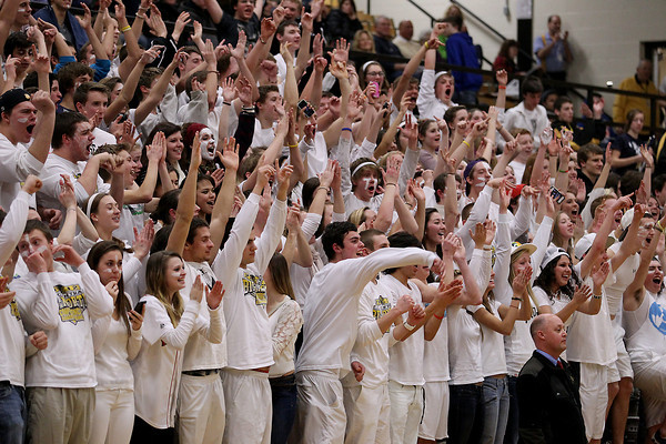 Record-Eagle/Keith King<br /> The Traverse City Central student section cheers during the boys basketball game against Traverse City West Thursday, January 17, 2013 at Traverse City Central High School.