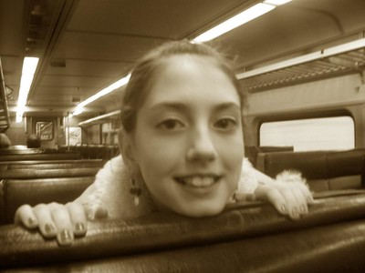my seat buddy, passing Ruggles Station.